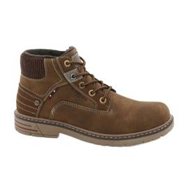 Hnědý Kožená treková obuv American Club CY37
