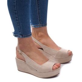 Hnědý Klínové sandály 3H096 Béžová