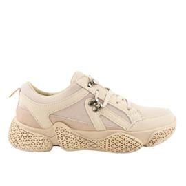 Béžová módní dámská sportovní obuv BD-5 hnědý