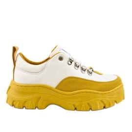 Bílá a žlutá módní dámská sportovní obuv PF5329