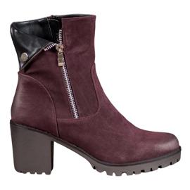 VINCEZA Burgundské boty červená