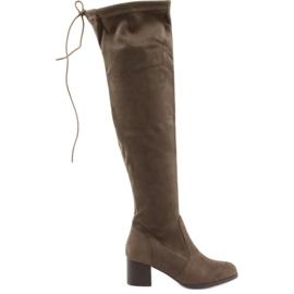 Daszyński Semišové boty přes koleno hnědý