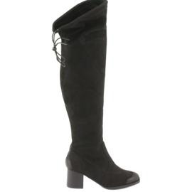 Daszyński Černé semišové boty přes koleno černé 1715 černá