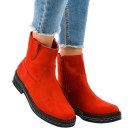 Gemre červená Červené semišové boty na sloupku CH1812-2