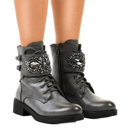 Gemre šedá Dámské šedé boty s přezkou a diamanty 0-251