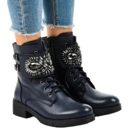 Gemre válečné loďstvo Tmavě modré dámské boty s přezkou a diamanty 0-251