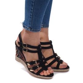 Klínové sandály 5H5671 Černá