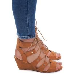 Hnědý Lace-up Wedge Sandals LL-115 Camel