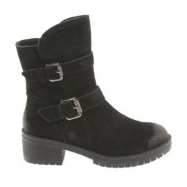 Černé semišové kožené boty Daszyński 161 černá
