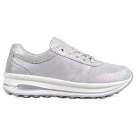 VINCEZA Glitter Kožená obuv šedá