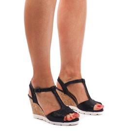 Klínové sandály YH2709 Černá