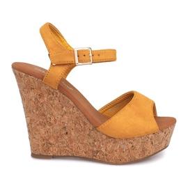 Klínové sandály Cork 5H5654 žlutá žlutý