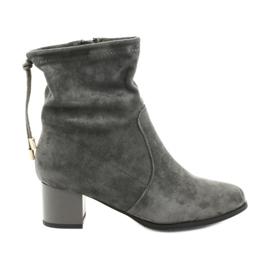 Daszyński SA58 vysoké boty na podpatku šedá