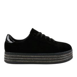 Černé dámské zdobené tenisky G280 černá