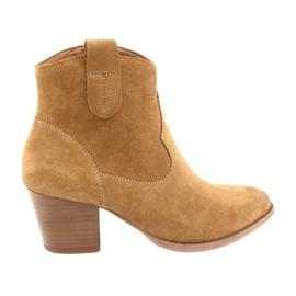 Kovové semišové boty Anabelle 1466 light Camel