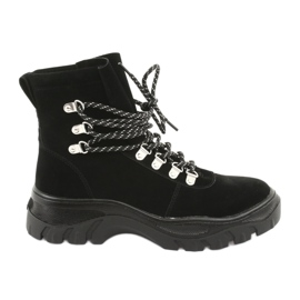 Svázaná černá lichoběžníková obuv Sergio Leone 729