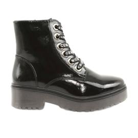 Sergio Leone 726 lakované krajkové boty černá