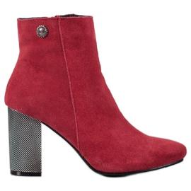 Goodin Kožené kotníkové boty červená