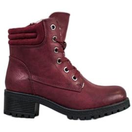 Goodin Šněrovací boty s ovčí kůží červená