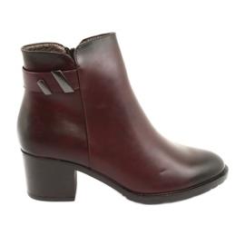 Izolované boty se zipem Daszyński SA153 burgundské