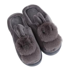 Dámské pantofle šedý králík MA01 Šedý šedá