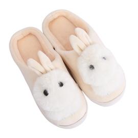 Béžové pantofle MA01 Béžová hnědý