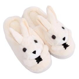 Béžové pantofle MA17 Bílá hnědý