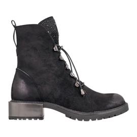 Goodin Semišové boty se stahovací šňůrkou černá