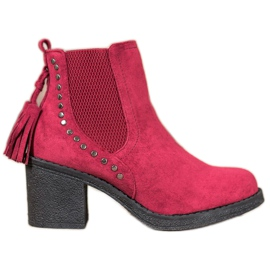 Small Swan Jodhpur boty se střapci červená