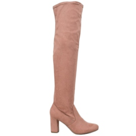 Corina Elegantní boty přes koleno růžový
