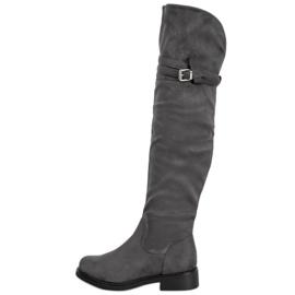 Ideal Shoes Elegantní stehenní vysoké boty s přezkou šedá