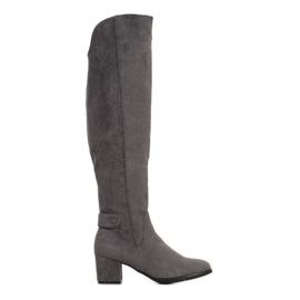 Goodin Teplé boty nad kolena šedá
