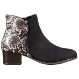 Kylie Black Boots Snake Print černá