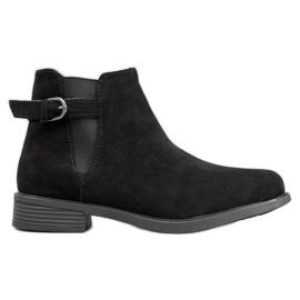 Ideal Shoes Suede Boots černá