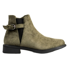 Ideal Shoes Suede Boots zelená