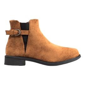 Ideal Shoes Suede Boots hnědý