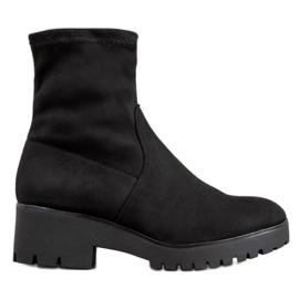 SHELOVET Černé boty na platformě černá