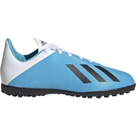 Fotbalová obuv Adidas X 19.4 Tf Jr F35347 bílá, modrá modrý