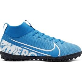 Fotbalová obuv Nike Mercurial Superfly 7 Academy Tf Jr AT8143 414 modrý bílá, modrá