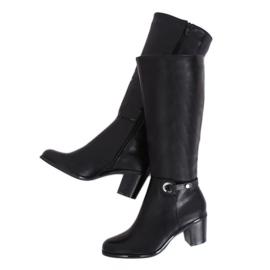 Klasické černé vysoké boty na podpatku BM-9090 Black černá
