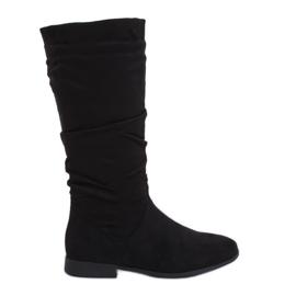 Černé boty na rovných podpatcích M629 Černá