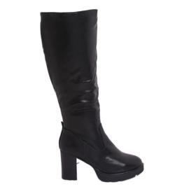 Černé vysoké podpatky s botami Q600-04 Černá