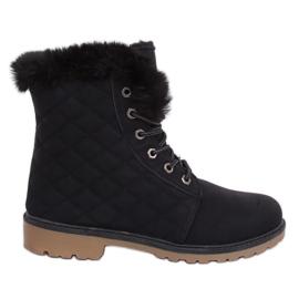 Černé prošívané dřevěné boty Z140 Black černá