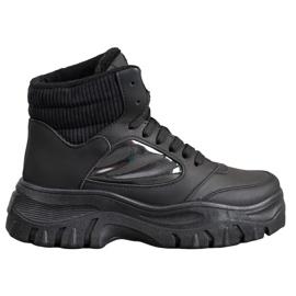SHELOVET Módní šněrovací kotníkové boty černá