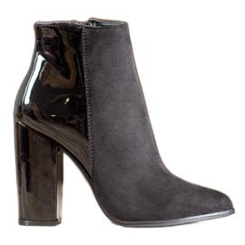 SHELOVET Elegantní semišové boty černá