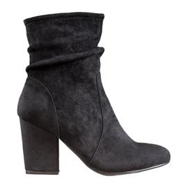 SHELOVET Vysoké semišové boty černá