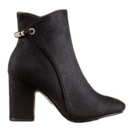 SHELOVET Kotníkové boty s kubickým zirkonem černá