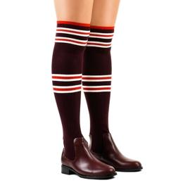 Burgundské stehenní boty ponožky FD-69 červená