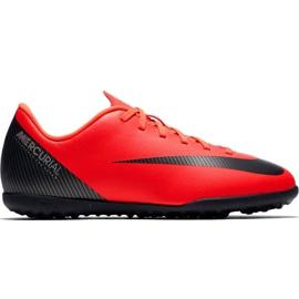 Fotbalová obuv Nike Mercurial Vapor X 12 Club Gs CR7 Tf Jr AJ3106 červená