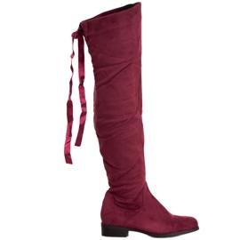SHELOVET Semišové boty s vázáním červená